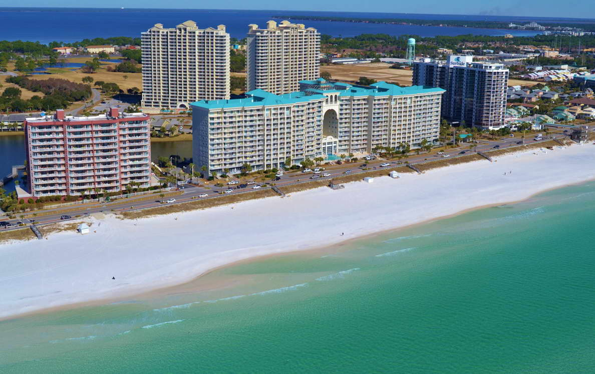 view from an airplane of the beachfront condos at seascape in Destin Florida
